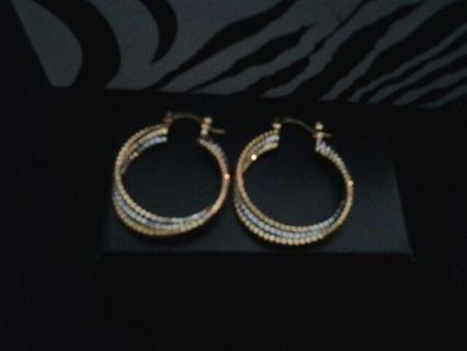 14k Gold & Silver Hoop Earrings