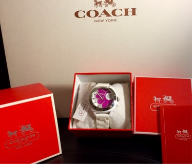 NIB Coach FUCHSIA FLORAL FACE Boyfriend WHITE Watch w $50 COACH Heart BONUS