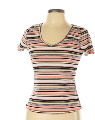 BNWT Wishful Park Striped Print Ribbed Knit T-shirt - Size Jrs. L