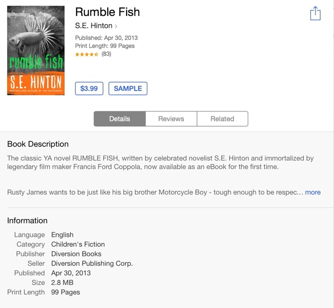 an overview of the rumble fish novel by s e hinton Rumble fish is a film directed, produced and co-written by francis ford coppola it is based on the novel rumble fish by se hinton, who also co-wrote the screenplay.