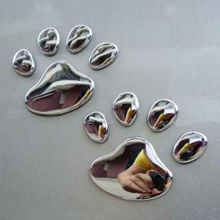 4x 3D Bear Dog Animal Paw Foot Print Car Window Bumper Body Decal Sticker Emblem
