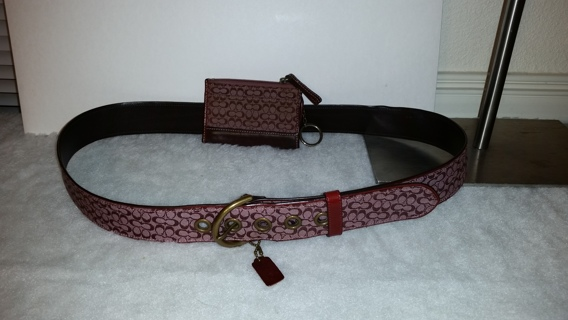 Coach Jacquard and Leather belt and ID holder/ mini wallet