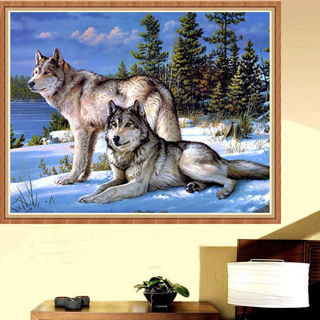 5D DIY Mosaic Diamond Painting Wolves Embroidery Cross Stitch Kits Craft Decor
