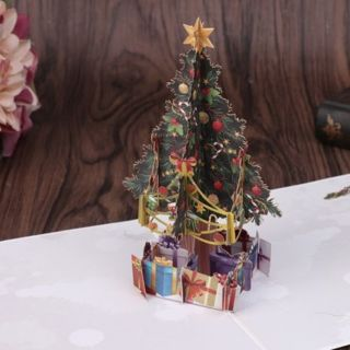 Handmade 3D Pop Up Greeting Cards Merry Christmas Tree Xmas Thanks Holiday