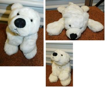 "13"" Vintage Fluffyville BIG FLOPPY White Polar Bear Doll Plush Stuffed Animal"