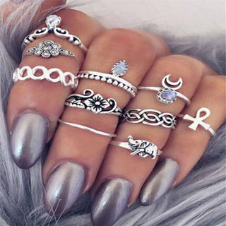 Silver/Gold Boho Stack Plain Above Knuckle Ring Midi Finger Rings Set Gift