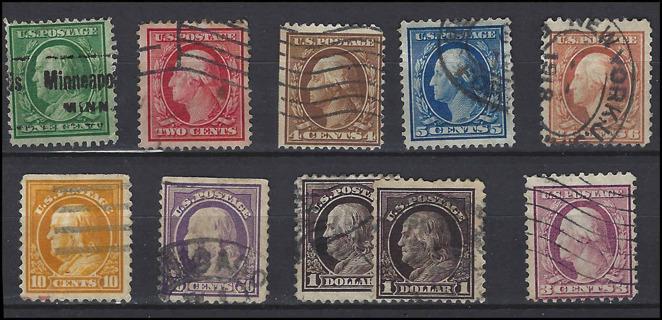 1908-18 US stamps lot, used/VF, w/Scott IDs, est CV $5.85