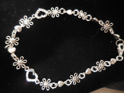 """New! Fun Tibetan silver hearts and flowers bracelet anklet, 10"""""""