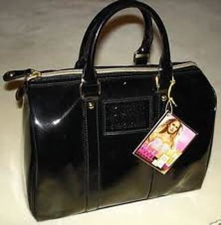 Victoria S Secret Supermodel Black Patent Leather Handbag