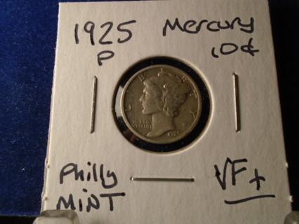 VF+ 1925 U.S. MERCURY DIME VF+ CONDITION!