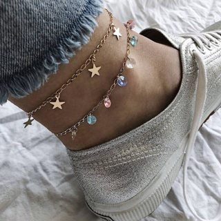 Women Fashion Colorful Crystal Beads Stars Pendant Gold Double Layer Anklet Charm Beach Party