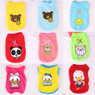 New Spring Summer Cotton Cartoon Pattern Pet Dog Lovely Vest Clothes