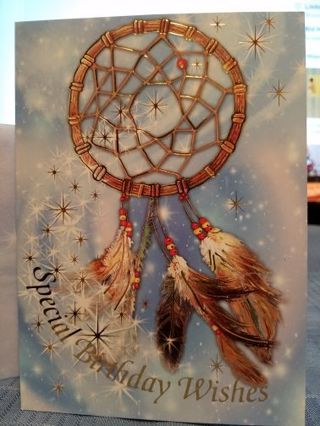 SPECIAL BIRTHDAY WISHES DEPICTING A DREAM CATCHER CARD W/ MATCHING ENVELOPE