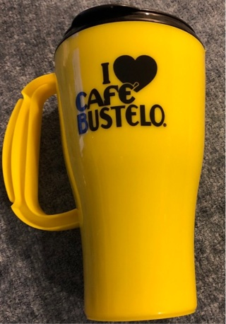 Brand New 16oz. 'Cafe Bustelo' Travel Mug with Sip-ability Lid! In a Vibrant Yellow.