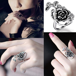 Gothic Women's Rose Flower Vine Alloy Enamel Finger Ring Cosplay Jewelry Gift