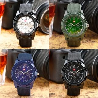 Round Dial Nylon Strap Band Men Boy Military Army Quartz Wrist Watch Gift