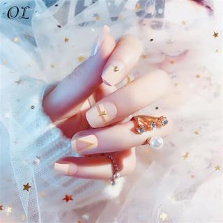 24pcs Pre-designed Pink Press On Nails for Fingers New False Nails Art Tips Long Fake Nails Natura