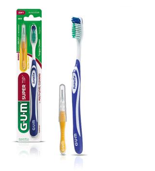 GUM Super Tip Toothbrush, Full Soft Bristles with Bonus Proxabrush Go-Between