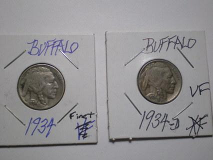 Set of 2 Buffalo Nickels 1934 P & D