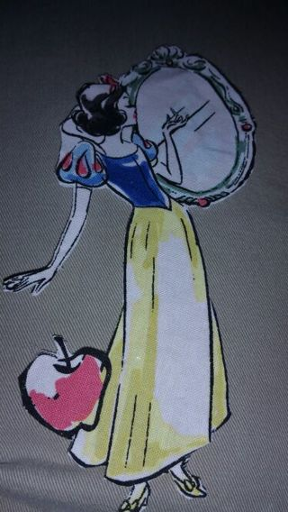 Disney Snow White iron on. Pellon backing Cloth handcut Approx 7x6 in