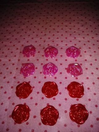 ❤✨❤✨❤️12 BRAND NEW PEARLIZED ROSE FLATBACK/CABACHON STICKERS❤✨❤✨❤(6 PINK/6 RED)