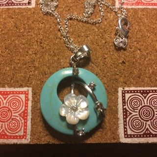Green Turquoise w/ Mother of Pearl & cz accent pendant necklace