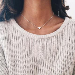 Romantic Heart Charm Necklace Gold Color Link Chain Necklace & Pendant Fashion Chokers Necklace fo