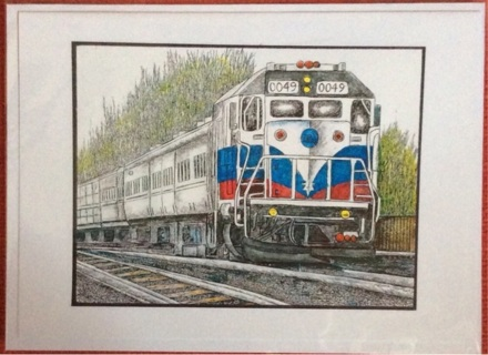 "COMMUTER TRAIN - 5 x 7"" art card by artist Nina Struthers - GIN ONLY"
