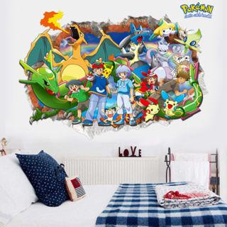 Hot 3D Pokemon Go Cute Pikachu Wall Decals Sticker Vinyl Mural Kids Room Decor