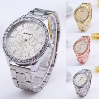 Women Geneva Bling Crystal Stainless Steel Quartz Rhinestone Wrist Watch
