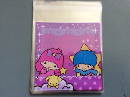 "8 Kawaii Sanrio Little Twin Stars Self Seal Cello Gift  Bags 4"" x 4"""