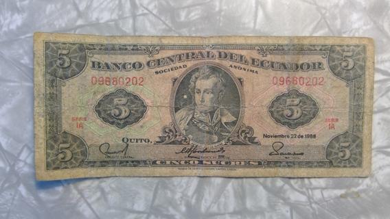 5 sucre bill from Ecuador, 1988