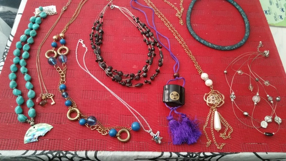 9 Necklace Lot / Winner Gets All Necklaces Showing on Red Mat, Even a 925 Silver too / Free Shipping