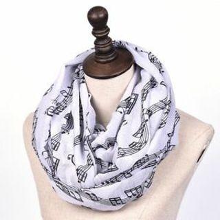 Seasons Women's Retro Musical Winter Scarf Yarn Material Symbols