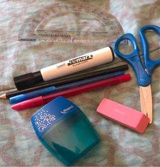 BN: STAPLES Office Lot. Pens, Dry Erase Marker, Scissors, Protractor, Eraser, Pencil Sharpener
