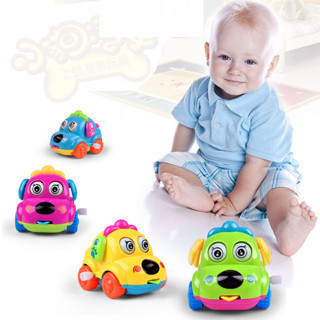 Baby Kids Clockwork Funny Toy Cartoon Puppy Clockwork Car Educational Toys