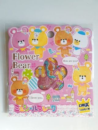 "Kawaii~Crux ""Flower Bear"" Sticker Sack & *8* Large Matched Memo Sheets"