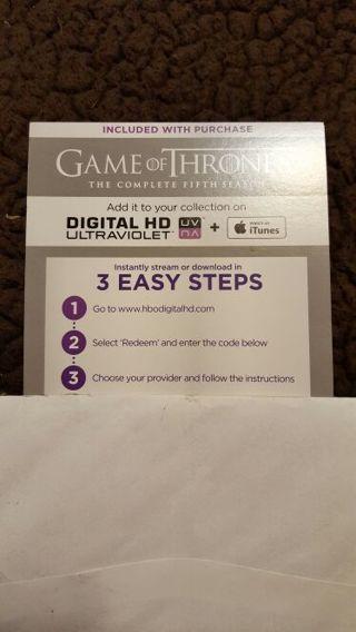 Game of Thrones Season 5 UV Digital Download