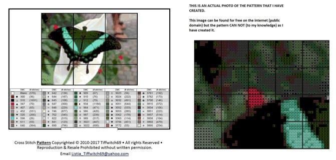Green Butterfly Cross Stitch Pattern