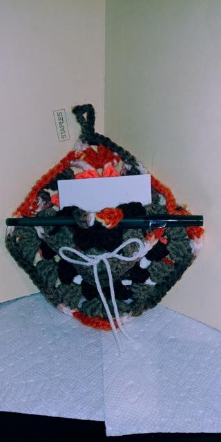 Crochet Granny Square Note Holder (B-7582) Brown/Orange/White