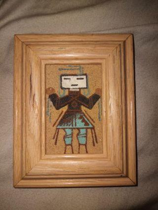Vintage antique handmade and framed kiva doll art work from 1990's