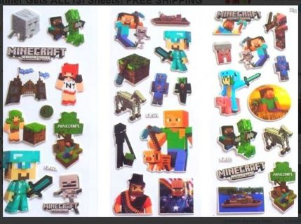 NEW PUFFY MINECRAFT VIDEO GAME Stickers SCRAPBOOKS PROJECTS DECO FREE SHIPPING