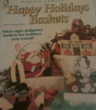 Happy Holidays Baskets in plastic canvas