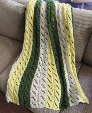 "Hand Crocheted Striped Afghan BN 42"" X 48"""