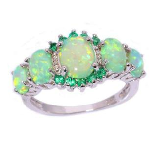 Fashion Women Green Fire Opal & Emerald Gems Silver Ring Jewelry Size 7/8/9 Gift