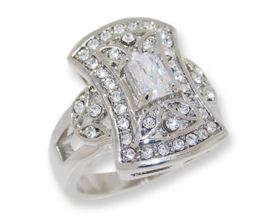 CUBIC ZICONIA and WHITE CZECH CRYSTAL RHODIUM VINTAGE LOOK RING NEW SELECT SIZE THIS IS UNIQUE!!!
