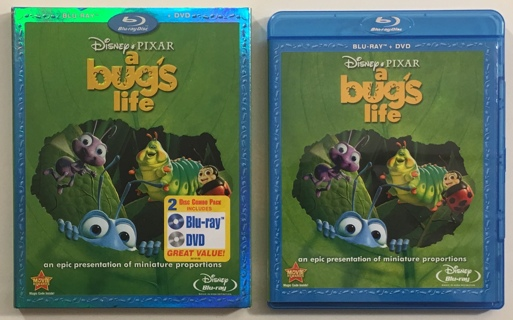 Disney Pixar A Bug's Life Blu-ray + DVD Collector's Edition Combo Movie with Slipcover - Mint Discs