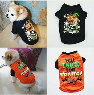 Pet Halloween Clothes Dog Sleeveless T-shirt Fashion Pumpkin Shirt Pet Costume