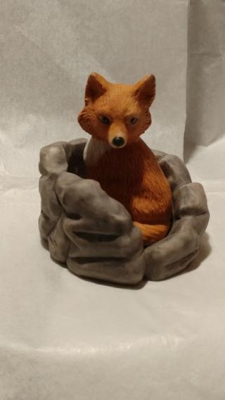 PORCELAIN FOX IN A FOX HOLE