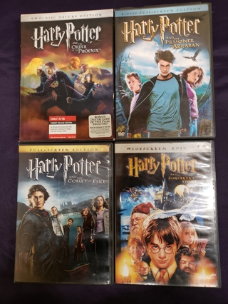 Lot of 4 Used Harry Potter DVD Movies Videos - Great Hits